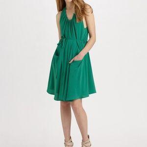 Women's Green Nadolin Silk Georgette Dress Sz 0